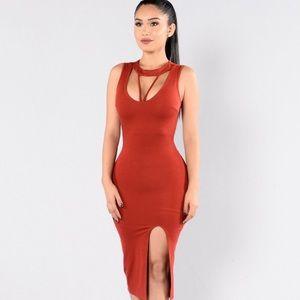 FASHION NOVA Red High Slit Bodycon Dress